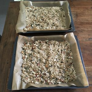 granola baking tray before baking